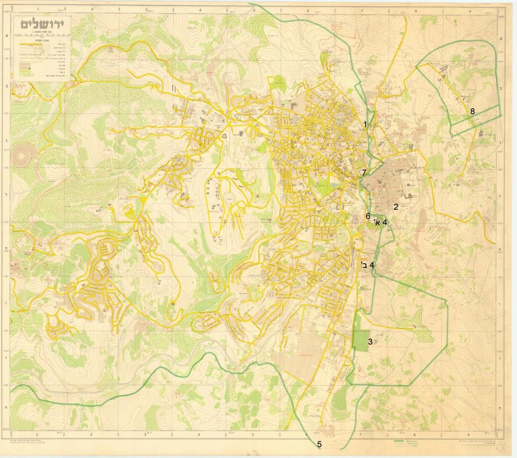מפה ירושלים המחולקת והקו העירוני, 1958