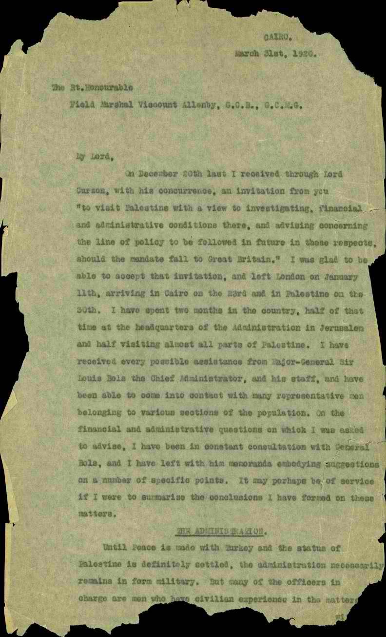 מכתב לאלנבי עמוד ראשון מ 649 6