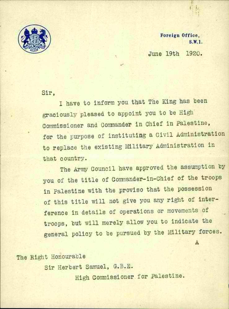 ISA-Privatecollections-HerbertSamuel-000ixsa מינוי רשמי יוני 1920